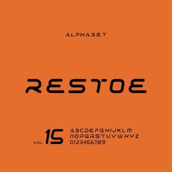 Eleganter futuristischer moderner alphabetbuchstabe oder schriftart lässige typografie schriftarten logo schrift premium-vektor