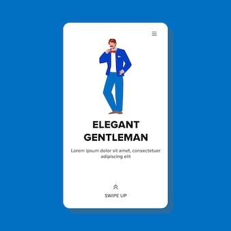 Eleganter gentleman mit smoking und krawatte vektor. eleganter gentleman geschäftsmann mit modischem kostüm und zubehör. charakter kerl in eleganz klassischer anzug web flache cartoon illustration