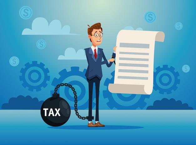Eleganter geschäftsmann mit steuerfessel und dokument