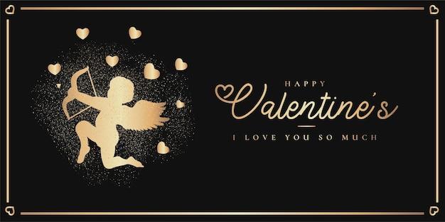 Eleganter glücklicher valentinstag mit goldener cupido-silhouette