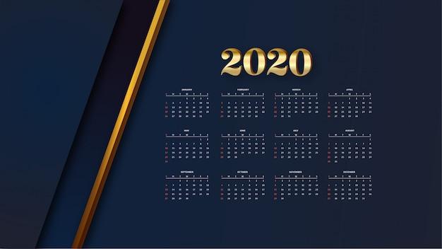 Eleganter goldener kalender