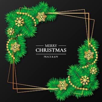 Eleganter goldener rahmen mit weihnachtsdekoration
