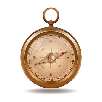 Eleganter goldener retro-kompass. realistische illustration lokalisiert auf weißem hintergrund
