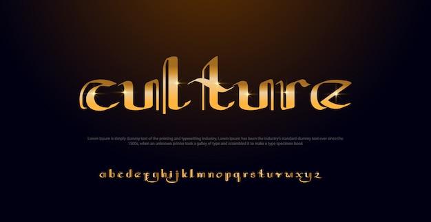 Eleganter goldfarbener alphabet-font. goldener guss der klassischen art der typografie