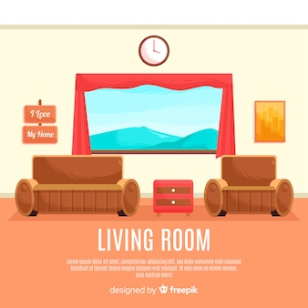 Eleganter hand gezeichneter wohnzimmerinnenraum