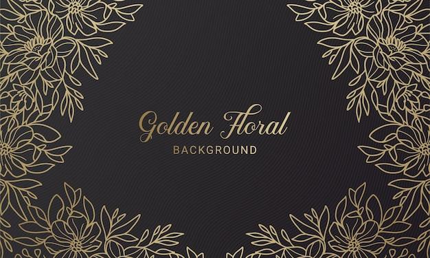 Eleganter handgezeichneter illustrationshintergrund des symmetrischen blumenpflanzenblatts schwarz und gold