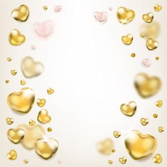 Eleganter heller quadratischer rahmen mit goldenen herzen