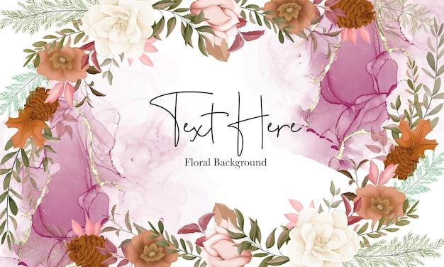 Eleganter herbstblumenhintergrund mit rosen- und kiefernblume