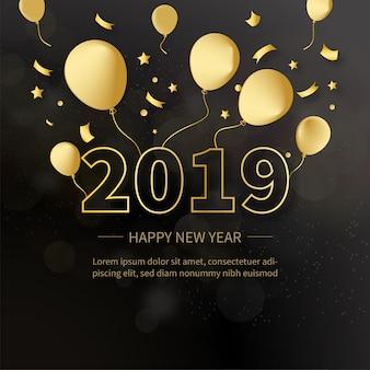 Eleganter hintergrund 2019 mit goldenen ballonen