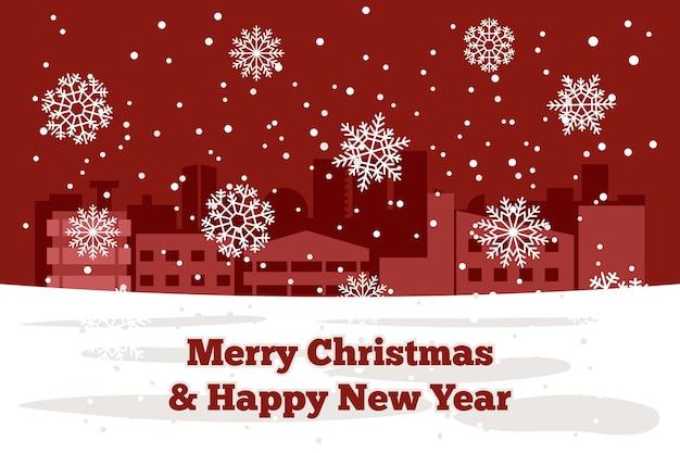 Eleganter hintergrund für weihnachten und neujahr, der eine winterstadt mit glänzenden weißen schneeflocken kennzeichnet. vektor-illustration.