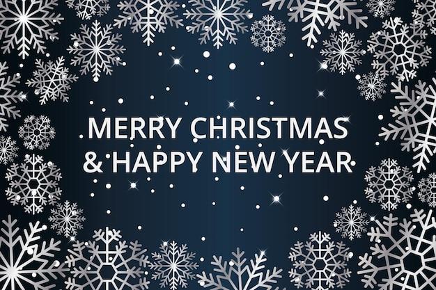 Eleganter hintergrund für weihnachten und neujahr mit glänzenden silbernen schneeflocken. vektor-illustration.