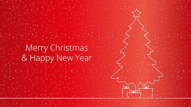 Eleganter hintergrund für weihnachten und neujahr mit weihnachtsbaum, geschenken darunter und glänzenden weißen schneeflocken. vektor-illustration.