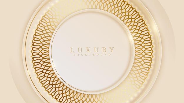 Eleganter hintergrund mit goldenen linienelementen des kreises. realistisches modernes konzept des luxuspapierschnittstils 3d.