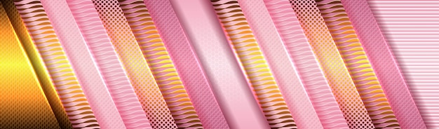 Eleganter hintergrund mit rosa und lila papier und goldener lichtdekoration