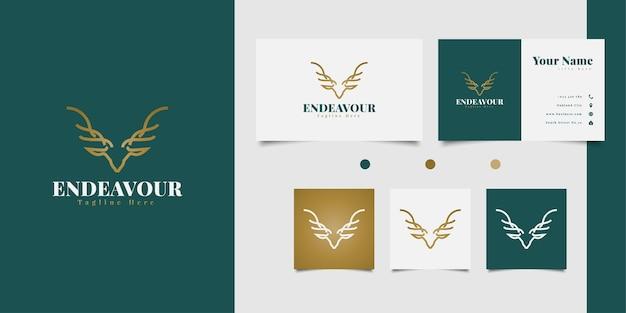 Eleganter hirschkopf-logoentwurf mit strichgrafikkonzept im goldenen farbverlauf