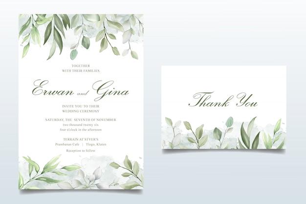 Eleganter hochzeitseinladungskartensatz mit aquarellblättern