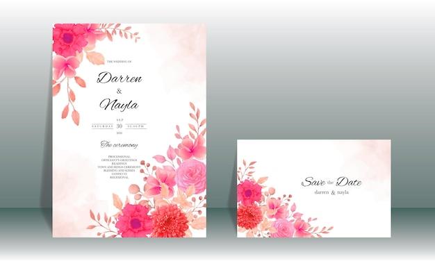 Eleganter hochzeitseinladungskartenschablonenentwurf mit burgunderblume