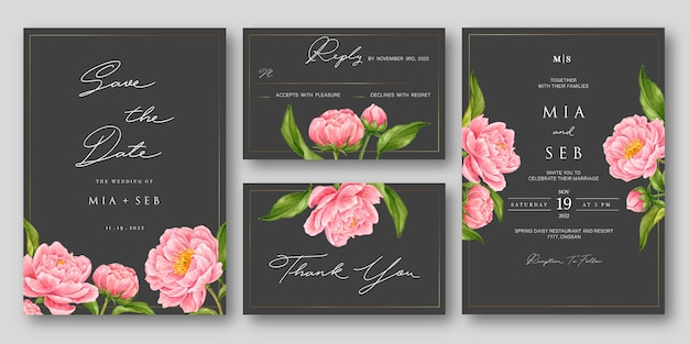 Eleganter hochzeitseinladungssatz mit rosa aquarellblume