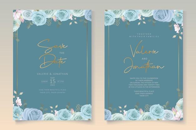 Eleganter hochzeitskartenentwurf mit blauen blumen