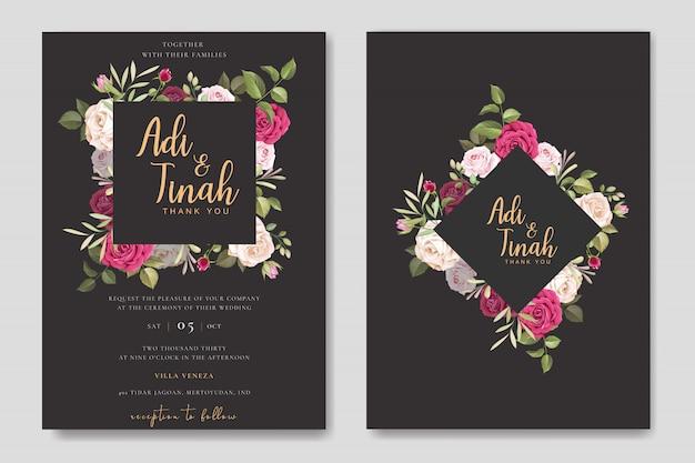 Eleganter hochzeitskartenentwurf mit schöner rosenkranzschablone