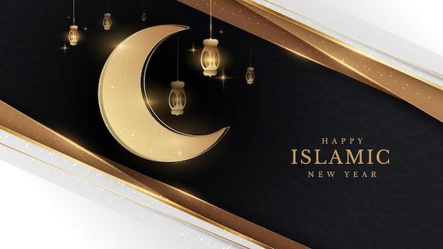 Eleganter islamischer kreativer kartenplakathintergrund des neuen jahres. lampe und halbmond golden auf muster schwarzes gefühl über luxuskonzept papierschnittstil. vektorillustration für design.