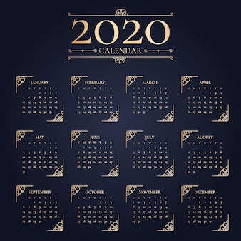 Eleganter kalender des neuen jahres 2020