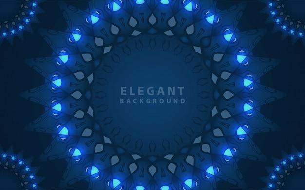 Eleganter klassischer blauer hintergrund mit mandala-verzierungsdekoration