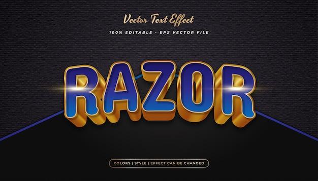 Eleganter, kräftiger textstil in blau und gold mit realistischem prägeeffekt