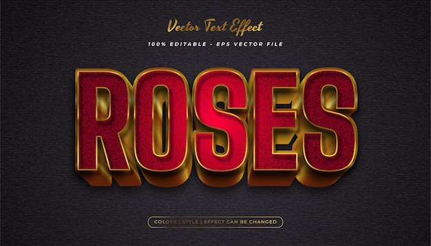 Eleganter, kräftiger textstil in rot und gold mit strukturiertem und geprägtem effekt