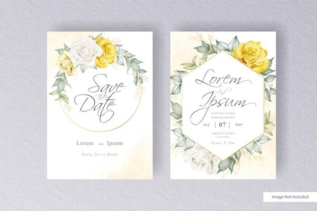 Eleganter kranz floral hochzeitseinladungs-vorlage mit handgezeichneten aquarell blumen und blättern
