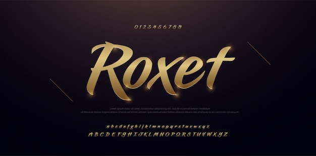 Eleganter kursiver schriftart der alphabet-zahl des goldmetall 3d
