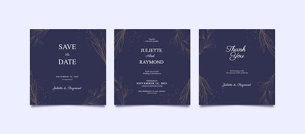 Eleganter lila und goldener instagram-beitrag für hochzeit