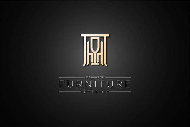 Eleganter luxus-tischstuhl für innenmöbel-logo-design-vektor