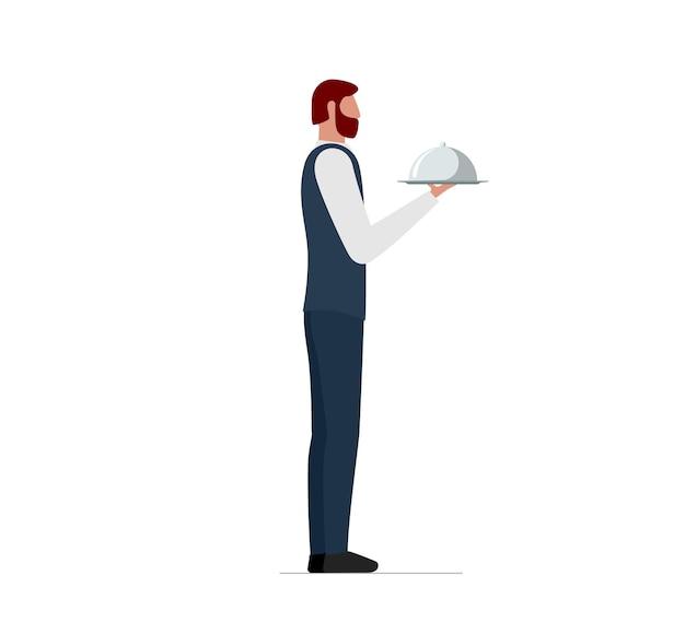 Eleganter männlicher kellner, der servierplatte mit kuppel hält. restaurant oder café hochwertiges servicekonzept. flache isolierte vektorgrafik