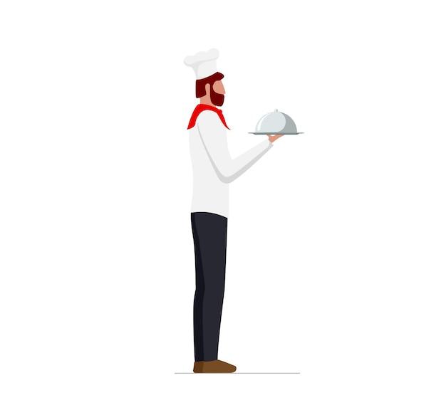 Eleganter männlicher koch in uniform und hut mit servierplatte mit kuppel. restaurant oder café hochwertiges servicekonzept. flache isolierte vektorgrafik