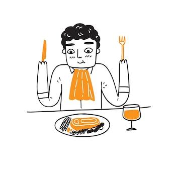 Eleganter mann, der ein steak an einem restauranttisch isst, handzeichnungsvektorillustration