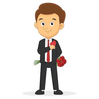 Eleganter mann im dunkelgrauen anzug, der ein rotes herz in der tasche versteckt