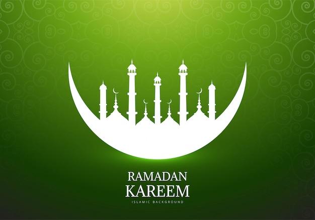 Eleganter mond mit moschee ramadan kareem hintergrund