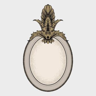 Eleganter ovaler rahmen mit dekorativem vintage