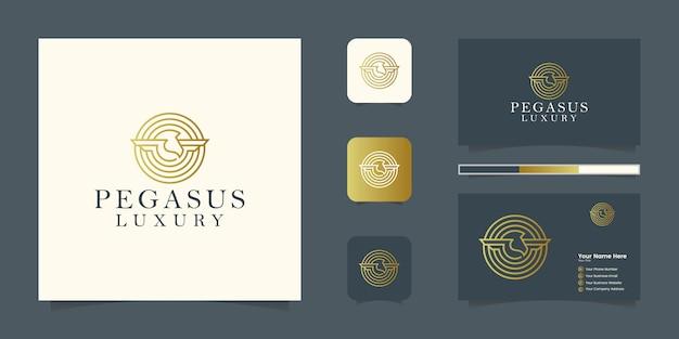 Eleganter pegasus. minimalistisches premiumpferd. mythische silhouette im pegasus-stil, premium-logo und visitenkarte