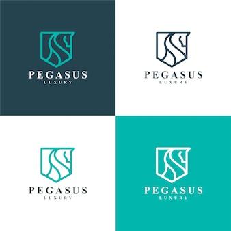 Eleganter pegasus. minimalistisches premiumpferd,