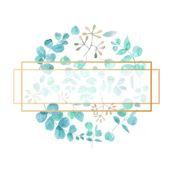 Eleganter polygonaler rahmen im aquarell