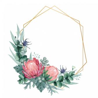 Eleganter protea blumenrahmen mit goldener geometrischer form.