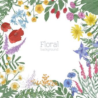 Eleganter quadratischer rahmen, verziert mit bunt blühenden wilden wiesenblumen