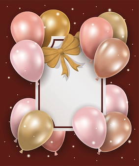 Eleganter rahmen mit goldener schleife und luftballons aus helium
