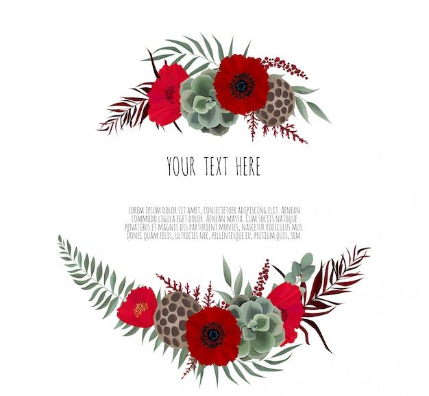Eleganter rahmen mit lotus und anemone