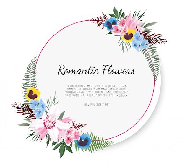 Eleganter rahmen mit rose und anemone