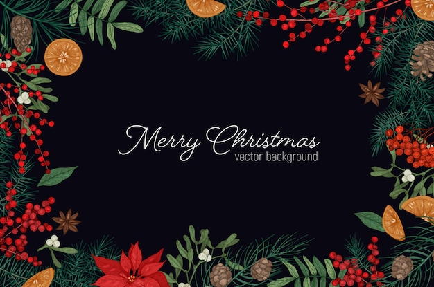 Eleganter rahmen oder rand aus zweigen und zapfen von tannen- und fichtenbäumen, mistelbeeren und blättern hand gezeichnet auf schwarzraum und frohe weihnachten feiertagswunsch