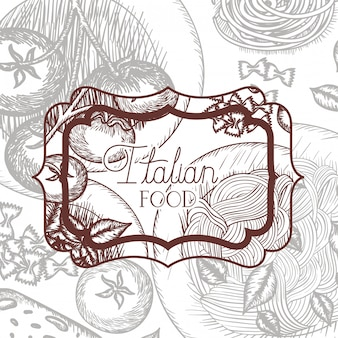 Eleganter rahmen victorian mit italienischem essen