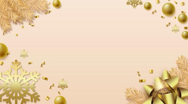 Eleganter realistischer weihnachtsstil mit kopienraum